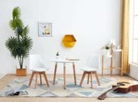 White Children's Dining Table with Natural Wood Legs